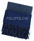 New Polo Ralph Lauren Pony Reversible Lambs Wool Scarf Italy Gray Navy