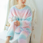 Winter Batwing Sleeve Sleepwear New Women Pajama Suit Nightgown Rainbow Style