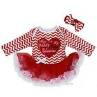 Baby My Daddy is My First Valentine Heart Red Chevron Long Sleeves Bodysuit Tutu