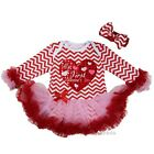 Baby My First Valentine's Day Heart Red Chevron Pink Long Sleeves Bodysuit Tutu