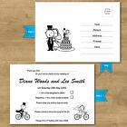 Personalised Day Or Evening Wedding RSVP Cards Funny Bike Cycling Bride & Groom