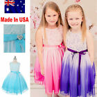 Stunning Formal Party Girls Dress Flower Girl Dress Purple Or Aqua Size 4 to 14