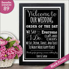 Wedding Order of Service PERSONALISED Order of the Day Chalkboard Vintage Sign