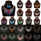 Hot Charm Jewelry Flower Chain Crystal Bib Statement Chunky Choker Necklace#S922