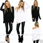 Women Black White Long Sleeve Blouse Top Loose Off-Shoulder Crew Neck T Shirt