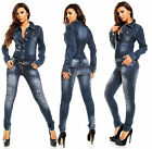 Womens Denim Jumpsuit Dark Blue Wash Skinny Legs Jeans Overall Size 8 S
