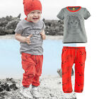 New Casual Baby Kids Boys Girls Lion Tops T-shirt+Pants 2pcs Outfits Set Clothes