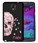 PERSONALIZED RUBBER CASE FOR SAMSUNG NOTE 3 4 5 PINK FLOWERS SKULL