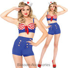 CL668 Sexy On Deck Darling Sailor Rockabilly Pin Up Uniform Fancy Dress Costume