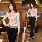 New Women Office Career Casual Long Sleeve Shirt Tops Bubble Sleeve White Blouse