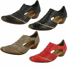 Ladies Rieker 43783 Red, Black, Beige Or Dark Blue Leather Smart Slip On Shoes
