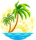 Tropical palm tree scene decal Camper RV motor home mural graphic