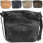 Ladies / Womens Leather Shoulder / Cross Body Bag with Multiple Pockets
