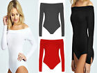 New Girls Ladies Womens Off Shoulder Bodysuit  Top Shirt Long Sleeve UK 8-14