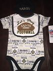 NFL New Orleans Saints, 3pc Baby Fan Outfit, Short Sleeve Tee, Hat, Bib, NWT