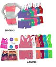 Set of 6/12PCS Junior Girl's Seamless Bra Set Training Bra Boxer Boyshorts S M L