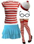 Ladies Girls RED WHITE STRIPED TSHIRT SET Fancy Dress outfit Book Week costume