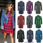 LADIES CHECK TARTAN PRINT BELT BUTTON COLLAR LONGLINE WOMENS SHIRT DRESS TOP