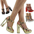 WOMENS LADIES T-BAR HIGH BLOCK HEEL PLATFORM PARTY GOING OUT SHOES SANDALS SIZE