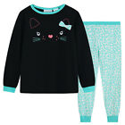 Pyjamas Girls Winter Cotton Knit Pjs (Sz 8-14) Set Black Aqua Cat Sz 8 10 12 14