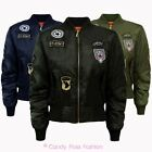 NEW WOMENS COMBAT BADGE AIR FORCE ARMY PADDED VINTAGE LADIES BOMBER BIKER JACKET