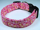 Charming Hot Pink & Yellow Flowers Dog Collar