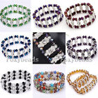 """Womens 7""""L Elastic Colorful Faceted Crystal Glass Beads Bangle Bracelet Jewelry"""