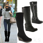 WOMENS LADIES WEDGE MID KNEE CALF HIGH WINTER CHUNKY PLATFORM HEEL BOOTS SIZE