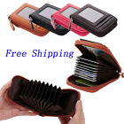 Credit Card Holder Zipper Men Fashion Cow Leather Wallet Case Id Holder Purse US