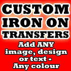 * CUSTOM IRON ON T SHIRT TRANSFER * PERSONALISED TEXT ANY COLOR