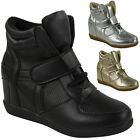 WOMENS LADIES LACE UP VELCRO SNEAKERS TRAINERS MID HEEL WEDGE ANKLE BOOTS SIZE