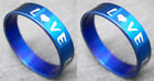 R076S fashion unisex love blue stainless steel ring you pick size Hot New