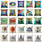 Colorful Marine Animal Turtle Cotton Linen Throw Pillow Case Sofa Cushion Cover