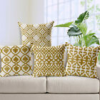 Cottoin Linen Yellow & White Geometric Waist Pillowcase Sofa Cushion Cover