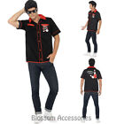 CL745 50s Mens Lucky Bowling Sports Shirt Rockabilly Fancy Highschool Costume