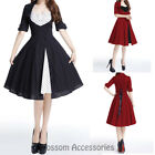 RK113 Rockabilly Polka Dots 50s Side Button Party Pin Up Retro Swing Party Dress