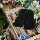 SHESOLE Ladies Black Satin Terry Slipper Bridal Flats Shoes Leather Sole Lace Up