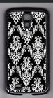 LK Classic Inverted White on Black Damask cell phone or iPod case or wallet