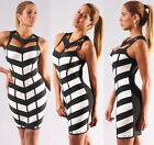 Sexy Womens New Black White Chevron Lined Peekaboo Dress Tlv Styles Bodycon Hot