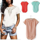 Fashion Women Casual Chiffon Blouse Short Sleeve Shirt Summer T-shirt Tops