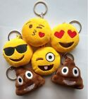 Plush Emoji Emoticon Keychain Poop Heart Eyes Kisses Tears Sunglasses 5 Choices