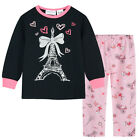 Pyjamas Girls Winter Cotton Flannel (Sz 3-7) Pjs Set Black Pink Paris Sz 3 4 5 6