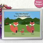 PERSONALISED FAMILY PRINT FOX PRESENT NEW FAMILY BABY SHOWER GIFT PRESENT