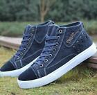 Denim Canvas Men's Fashion High Top lace up Casual Athletic Hiking Outdoor Shoes
