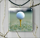 GOLF BALL ON YELLOW TEE PENDANTS NECKLACE M - L - XL -pgb8Z