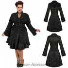 RKH55 Hearts & Roses Gothic Military Rockabilly Steampunk Brocade Jacket Coat