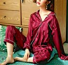 Gift  Womens Satin Silk Pajama Set Kimono Robe Multi-color Silkpeace Pants Gown