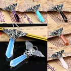 1PC Crystal Gemstone Wings Skull Head Bead Charms Pendant Jewelry Fit Necklace