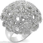 Clear CZ Stones Pave Dome Silver Rhodium EP Ladies Ring