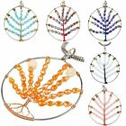 Opal Quartz Crystal Citrine Stone Tree of Life Gemstone Pendant Charms Jewelry
